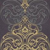 Kandola Classico Aubergine Aubergine / Silver / Gold Wallpaper