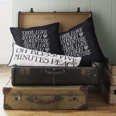Image of Emma Bridgewater Cushions Emma Bridewater True Love Black Cushion, 361040