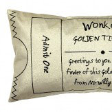 Roald Dahl Charlie & The Chocolate Factory Golden Ticket Cushion