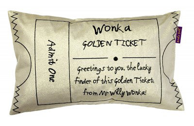Image of Roald Dahl Cushions Charlie & The Chocolate Factory Golden Ticket, 451025