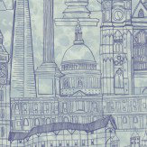 Graduate Collection London Skyline Marine Blue Wallpaper