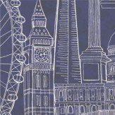 Graduate Collection London Skyline Night Night Blue / White Wallpaper