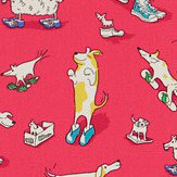 Sanderson Dogs in Clogs Red Fabric