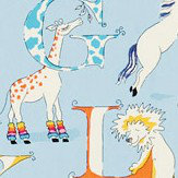 Sanderson Alphabet Zoo  Powder Blue Fabric - Product code: 223912