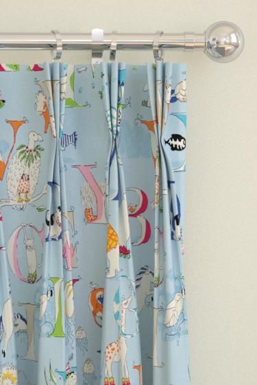 Alphabet Zoo curtains by Sanderson - Powder Blue : Wallpaper Direct