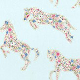 Sanderson Pretty Ponies  Chintz/ Blue Fabric - Product code: 233925