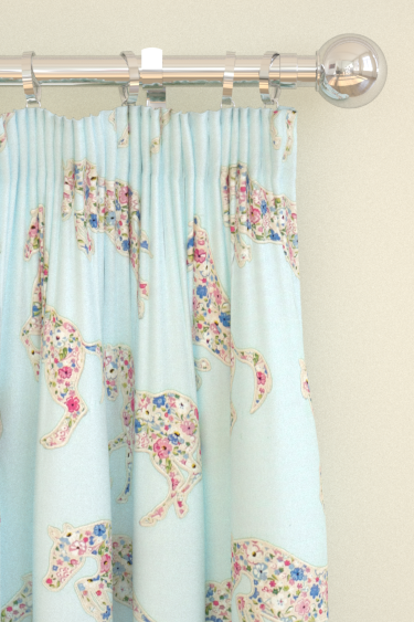 Sanderson Pretty Ponies  Chintz/ Blue Curtains