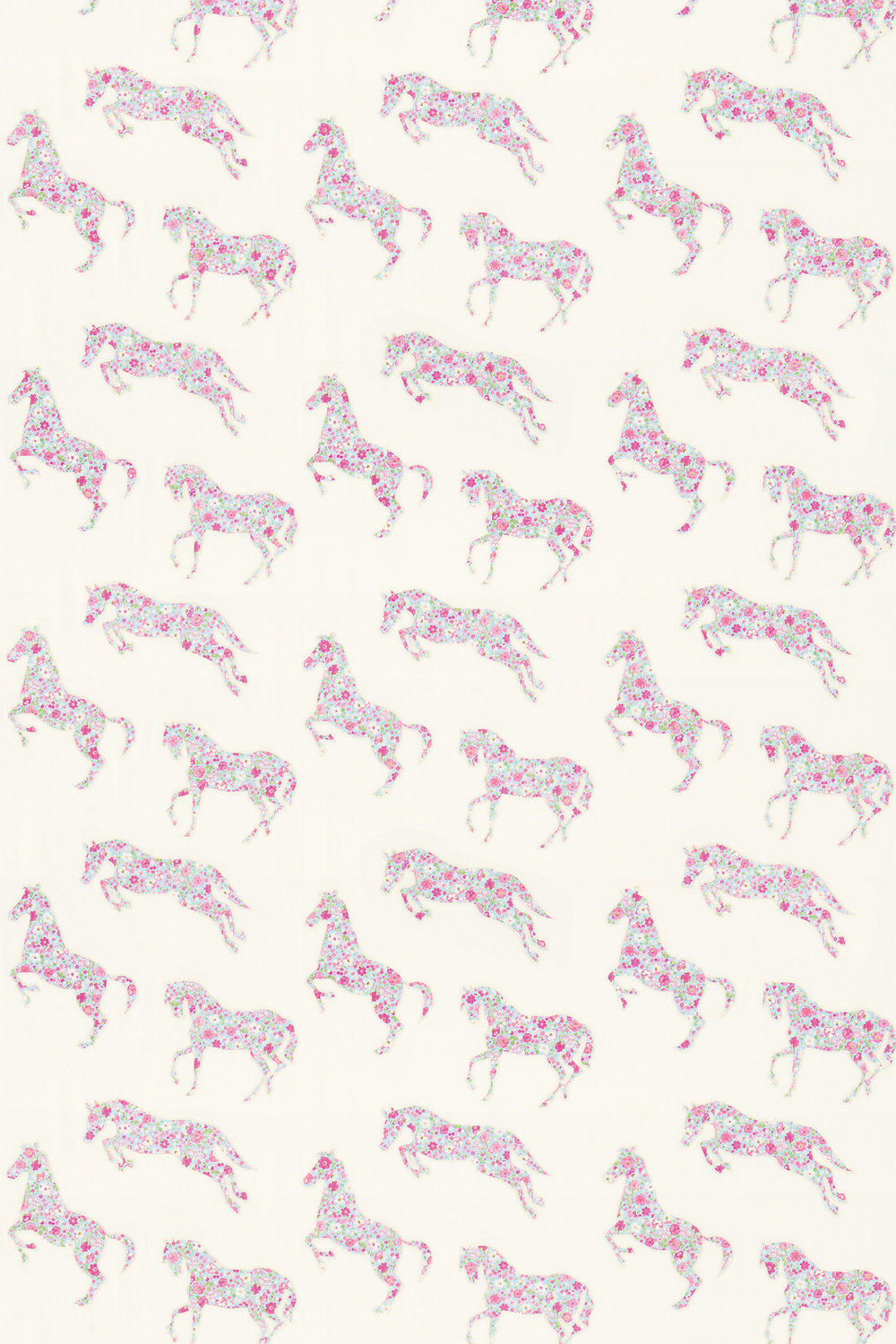 Sanderson Pretty Ponies  Pink/ Sky Fabric - Product code: 233926
