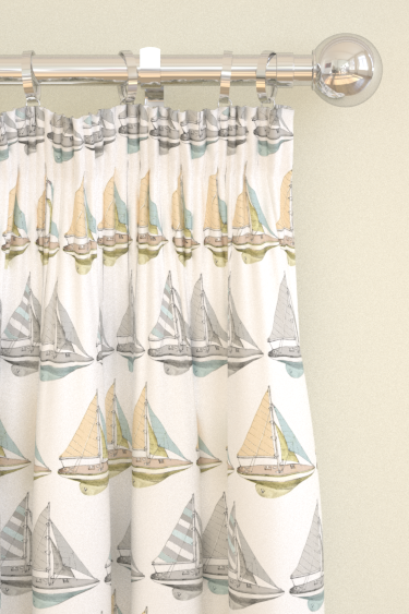 Louise Body Boats Fabric White / Multi Curtains - Product code: BOATS