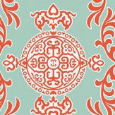 Thibaut Halie Aqua and Coral Aqua / Coral Wallpaper - Product code: T36113