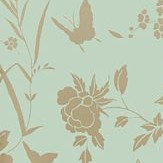 Thibaut Liang Aqua with Metallic Gold Aqua / Gold Wallpaper - Product code: T36175