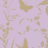 Thibaut Liang Lavender with Gold Metallic Wallpaper - Product code: T36178