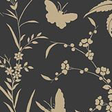 Thibaut Liang Black with Metallic Gold Black / Gold Wallpaper - Product code: T36179