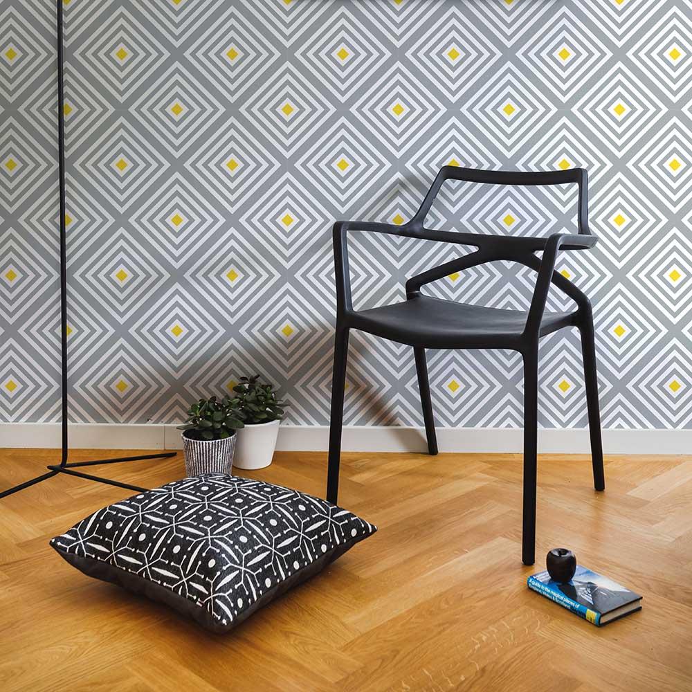 Layla Faye Diamond Slate Yellow Wallpaper - Product code: LF1020