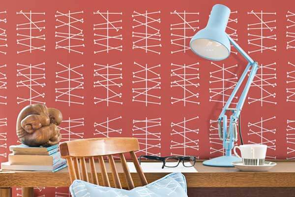Layla Faye Crossed Lines  Ruby Red Wallpaper - Product code: LF1036