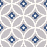 Layla Faye Daisy Chain Large  Grey Midnight Blue Wallpaper