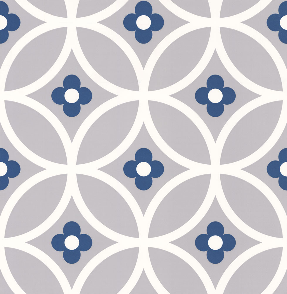 Daisy chain large by layla faye grey midnight blue for Wallpaper direct
