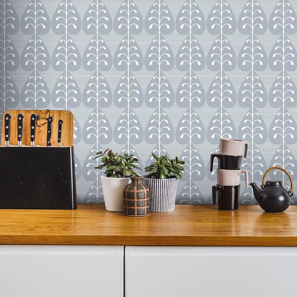 Layla Faye Golden Leaf  Light Slate Grey Wallpaper - Product code: LF1037