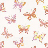 Casamance Papillons Orange Orange / Pink / Yellow Wallpaper - Product code: 7275 0101