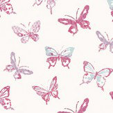Casamance Papillons Pink Pink / Purple / Blue Wallpaper - Product code: 7275 0203