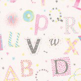 Casamance Lettres Pink Multi Wallpaper - Product code: 7281 0129
