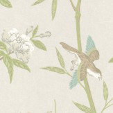 G P & J Baker Peony & Blossom Ivory/ Willow White / Green / Aqua Wallpaper