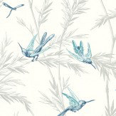 G P & J Baker Waters Edge Indigo/ Aqua Indigo / Aqua / Cream / Silver Wallpaper