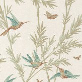 G P & J Baker Waters Edge Teal/ Amber Pale Green / Gold Wallpaper