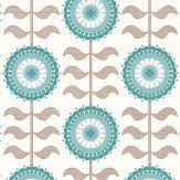 Layla Faye Tall Flower  Turquoise Twirl Wallpaper