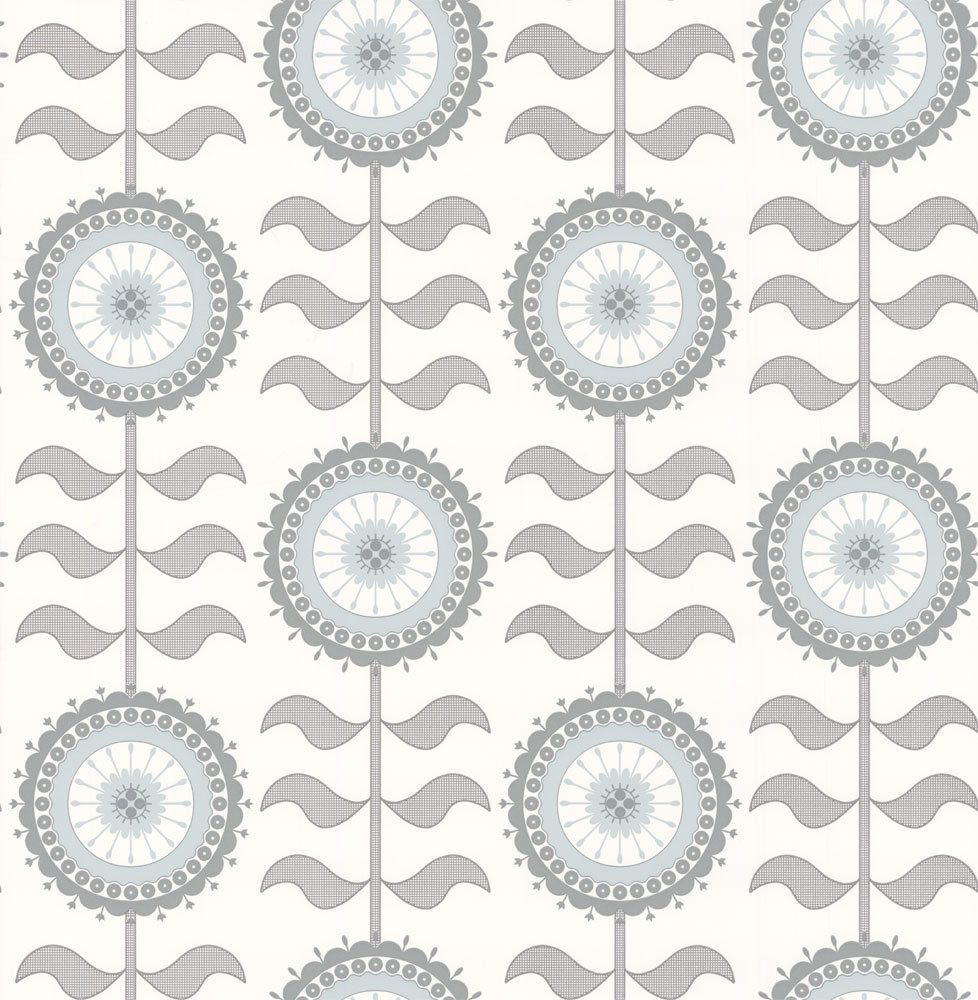 Layla Faye Tall Flower  Grey Swirl Wallpaper main image