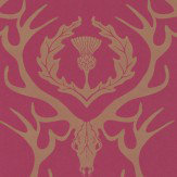 Barneby Gates Deer Damask Claret Wallpaper