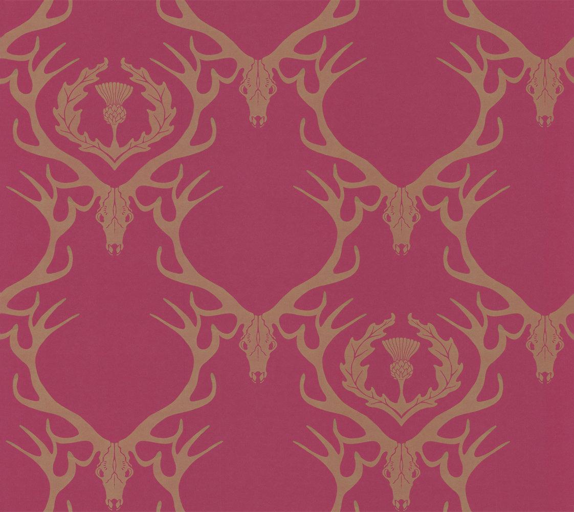 Barneby Gates Deer Damask Claret Wallpaper - Product code: BG0100402
