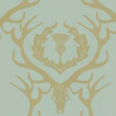 Barneby Gates Deer Damask Duckegg Duck Egg Blue Wallpaper