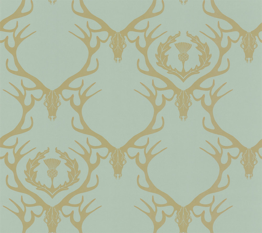 Barneby Gates Deer Damask Duckegg Duck Egg Blue Wallpaper Main Image