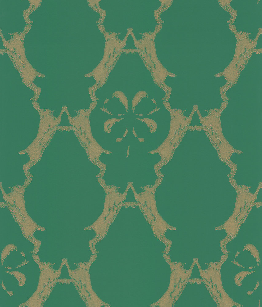 Barneby Gates Boxing Hares Billiard Green Wallpaper - Product code: BG0400101