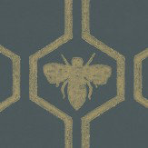 Barneby Gates Honey Bees Gold Charcoal / Gold Wallpaper