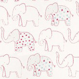 Casamance Elephant Pink / Blue / Grey / White Wallpaper