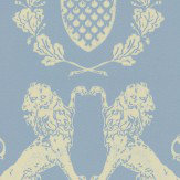 Barneby Gates Heraldic Lion Wedgewood Blue  Wallpaper