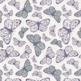 Hattie Lloyd Free to Fly - Fair Butterflies Lilac / Duck Egg Wallpaper - Product code: HLFTF02