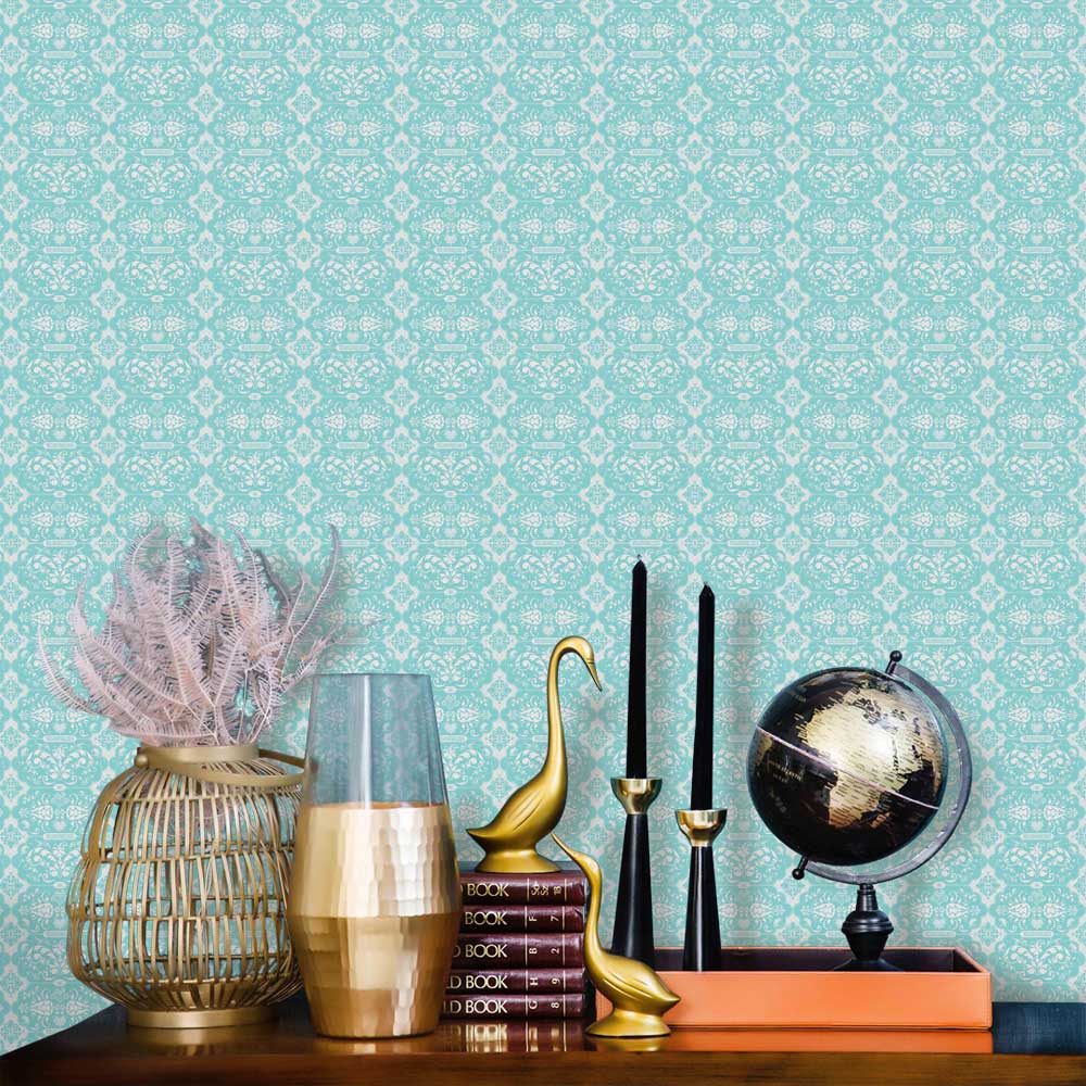 Hattie Lloyd Kensington Chic Turquoise Wallpaper - Product code: HLKC01