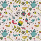 Hattie Lloyd Tea at Hatties - Brightest Summer Pink / Turquoise Wallpaper