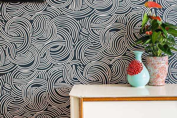 Farrow & Ball Tourbillon Black and Beige Wallpaper