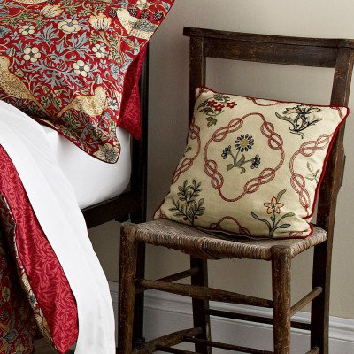 Image of Morris Cushions Strawberry Thief Crimson Cushion, 103235