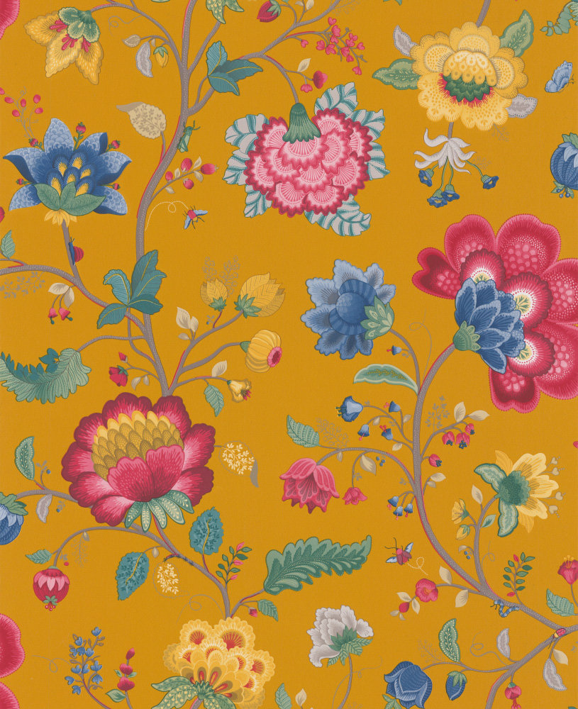 Floral fantasy by pip wallpaper mustard yellow for Wallpaper direct
