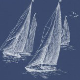 Eijffinger Sailing Etching Navy Wallpaper