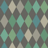 Cole & Son Punchinello Teal on Charcoal Wallpaper