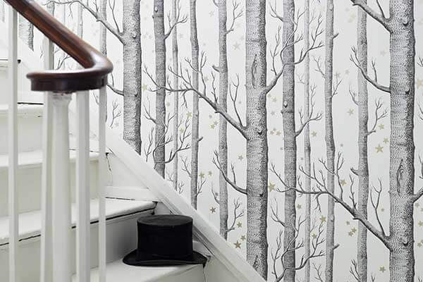 Cole & Son Woods and Stars Black and White Wallpaper