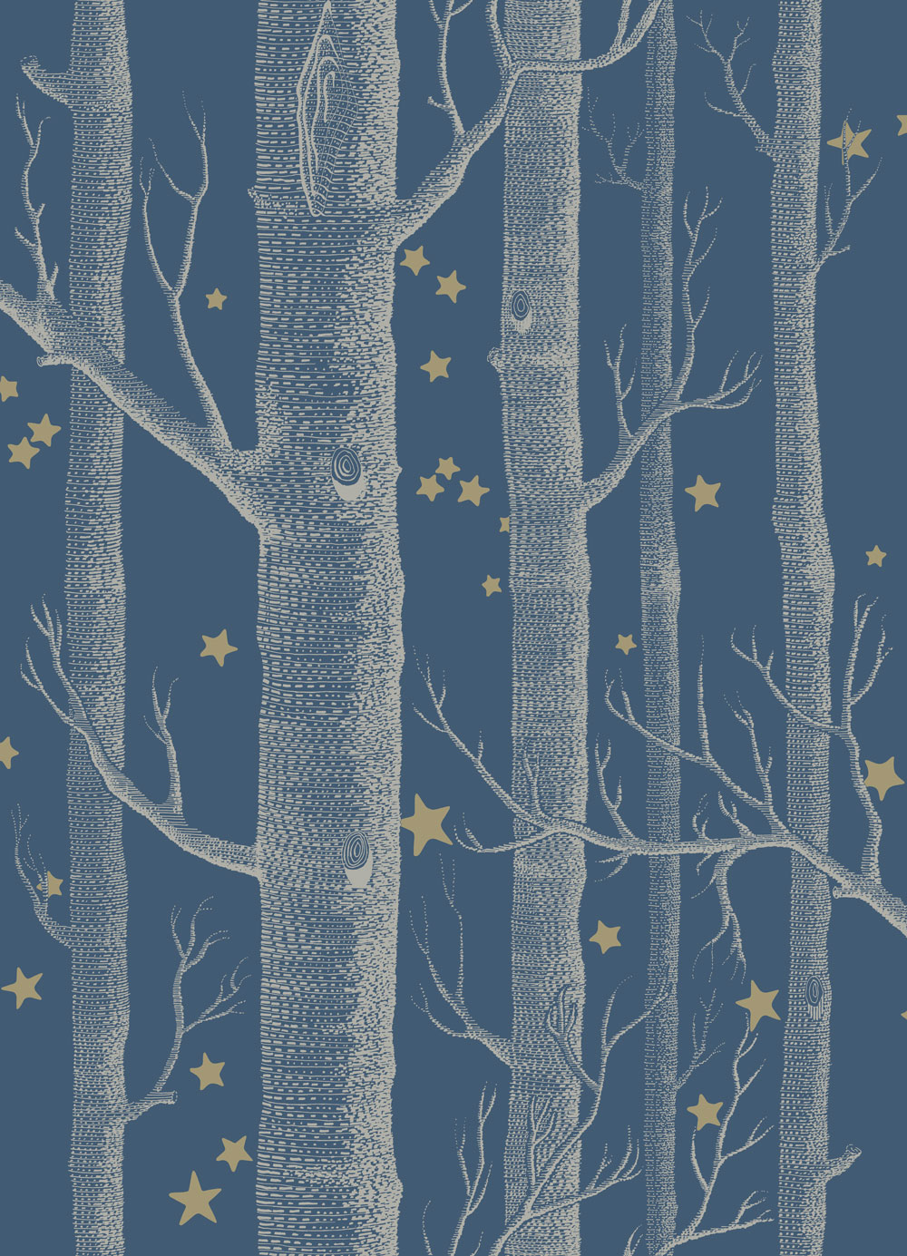 Cole & Son Woods and Stars Midnight Blue Wallpaper main image