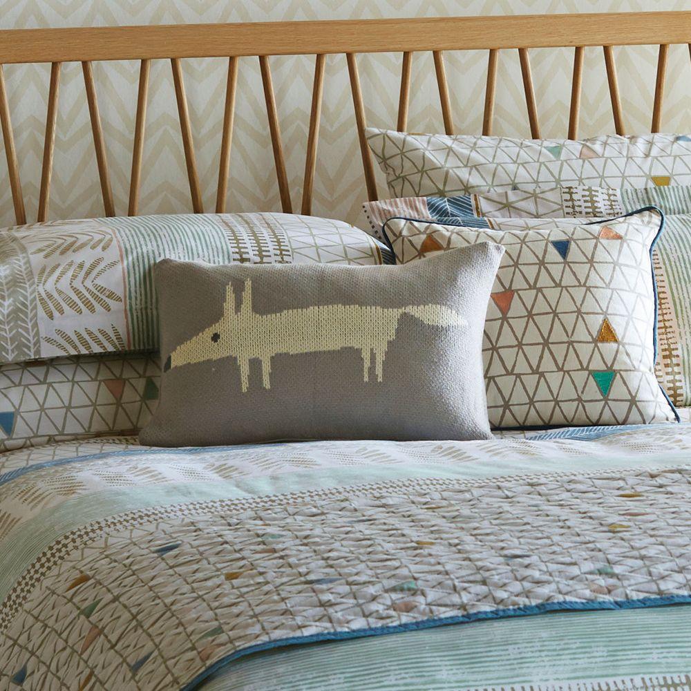 Mr Fox Knitted Cushion - Silver - by Scion