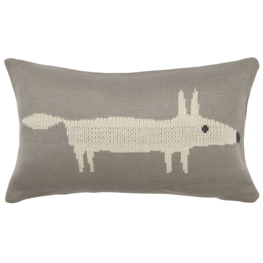 Mr Fox Silver Knitted Cushion by Scion  Silver
